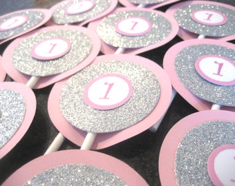 Pink and Silver Cupcake Toppers, Silver and Pink Cupcake Toppers, Silver Cupcake Toppers, Pink Cupcake Toppers, Silver and Pink Birthday