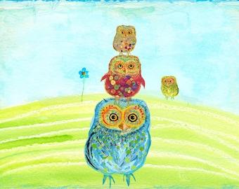 The Owl Family 2 - mixed media illustration