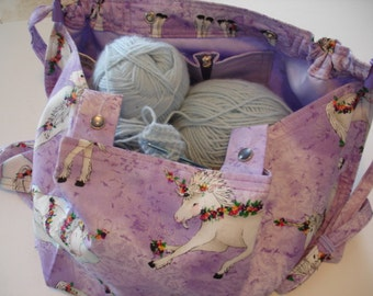KNITTING BAG APRON - Mark Hordyszynski Rare Unicorn Michael Miller Fabric - Allow 3 weeks for delivery