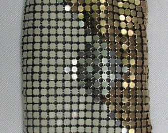 A Vintage Metal Mesh Eye Glass Case in Gold and White