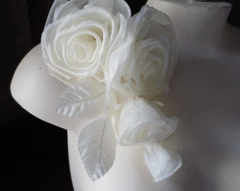 IVORY Silk Millinery Rose Corsage for Bridal, Derby, Ascot, Bouquets, Sashes, Costumes, Fascinators MF 123