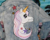 Unicorn Vintage Acid Wash Denim Jacket OOAK Lisa Frank Style