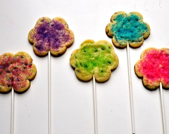 Flower Cookie Lollipops - One dozen custom flower favors