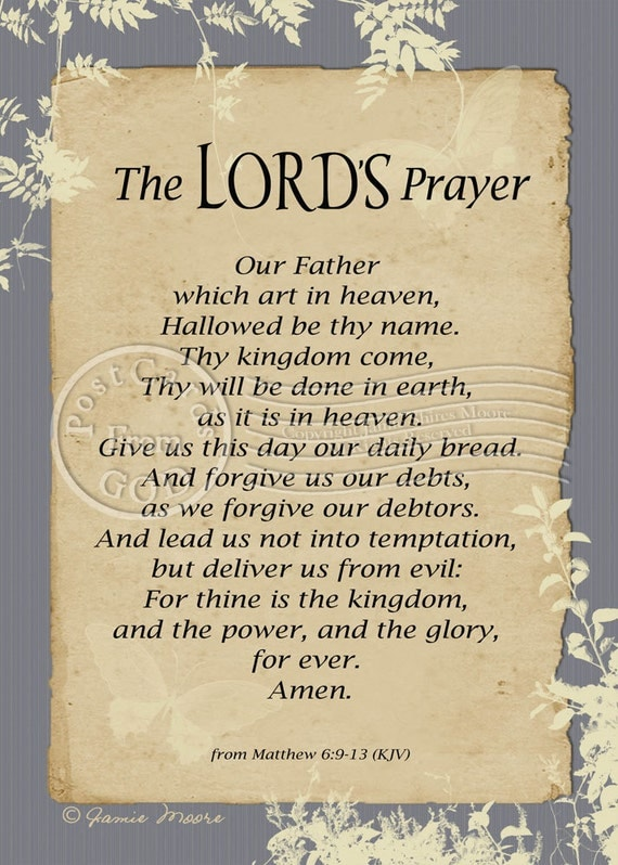 Légend image within printable lords prayer