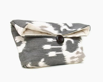 Gray Ikat Clutch Purse, Ikat Makeup Bag, Ikat Foldover Clutch, Womens Clutch Purse, Bridesmaid Clutch, Ikat Bridesmaid Gift