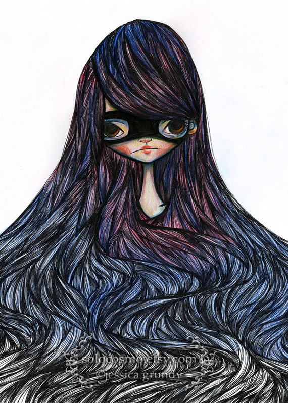 "ACEO/ATC Mini Fine Art Print ""Nadia"" Artist Trading Card 2.5x3.5 - Jessica Grundy Illustration"
