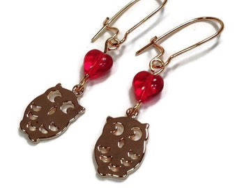 Gold Owl and Red Heart Valentine Earrings