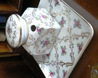 vintage office ... PORCELAIN HAND Painted INKWELL Victorian lovely tray lid ink pot desk lovely ink well ...
