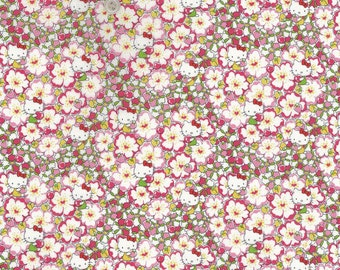 hello kitty x liberty art fabric  2013 - Last series - best selection -Floral heart - fat quarter - pink