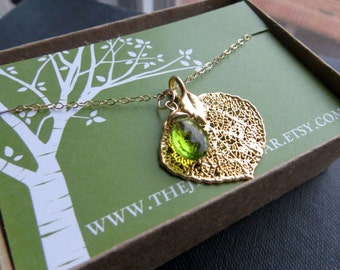 REAL leaf necklace with birthstone, Birthstone necklace, autumn jewelry, Aspen leaf pendant, nature, natural, gift