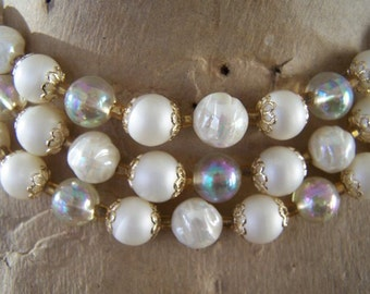Vintage pearl choker  necklace with three strands with lucite AB beads gorgeous classic