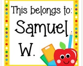 Back to School Stickers, Book Belongs To Bookplate Labels, This Belongs To Stickers - Personalized Children Stickers