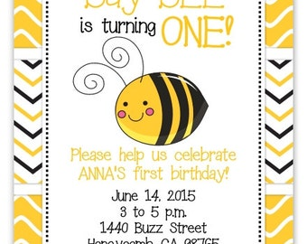 Bee Invitation, Honeybee Invite, First Birthday Invitation - custom design for YOU, 1st Birthday Invite, bee birthday