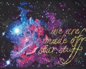 Carl Sagan Cosmos cross stitch PATTERN -- We are made of star stuff, immediate PDF download