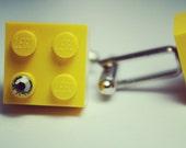 Made from Lego Yellow Brick Swarovski Cufflinks