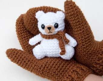 PDF Crochet pattern - Gifting Mittens and Amigurumi Bear