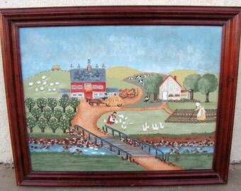Folk Art Painting Original Farm Landscape Painting signed Mary M. Hill Barn Farmhouse Primitive Naive Wall Art Hanging