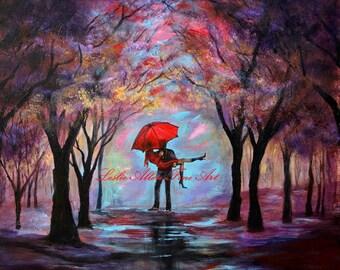 "Couple In Love Couple Painting Couple Hugging  Romantic Romance Loving Special Moment  ""A Beautiful Romance""   Leslie Allen Fine Art"