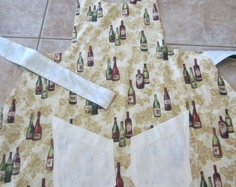 Reversible Apron - Bottles Of Wine And Cherries, Scalloped Bottom