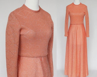 70's Lurex Sparkle Knit Gown / Pointelle Bodice / Flared Skirt / Long Sleeves / Peach / XSmall