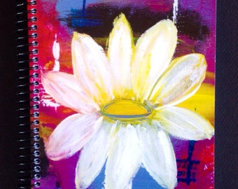 """White Daisy 5.5""""x8.5"""" Lined Paper Coil Bound Soft Cover Notebook, Journals, Wholesale Notebook, Stationery"""