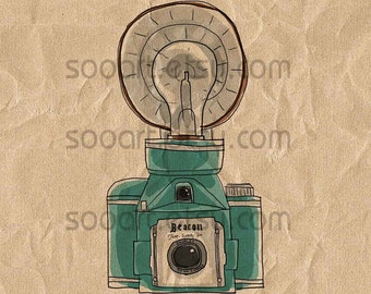 blue vintage beacon camera a4 -Original Illustrate Drawing  A4 Print transfer on Pillows, t-shirts, scrapbook, lampshades  ETC.v