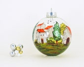 Tuscan scene, Provence scene - Hand painted glass ornament - Village Provencal collection