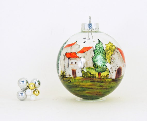Hand painted glass ornament - Village Provencal collection