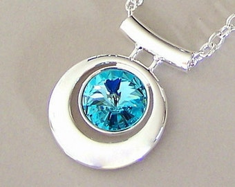 Turquoise crystal and silver necklace, Light Turquoise Swarovski crystal silver plated pendant necklace