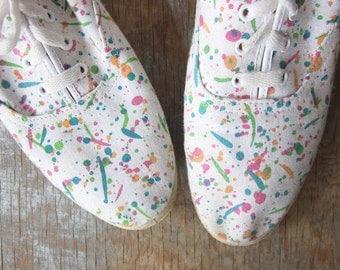 canvas shoes, vintage 80s paint splatter sneakers, size 7.5 shoes