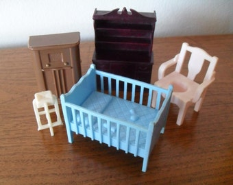 Vintage Hard Plastic Chairs Doll House Furniture Baby Crib, Cabinet, Antique Radio + More