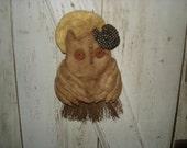 Primitive A Hootin' Halloween Witch Owl on Broom Door Hanger, Primitive, Rustic, Owl, Witch Owl, Ofg, Faap, Hafair