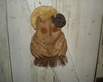 Primitive A Hootin' Halloween Witch Owl on Broom Door Hanger, Primitive, Rustic, Owl, Witch Owl, Halloween, Fall,  Ofg, Faap, Hafair, Dub