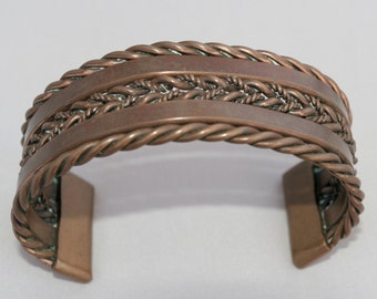 Vintage Man's Copper Cuff Hand Woven Design - Stunning Great Patina