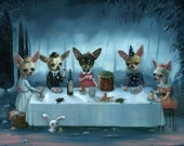 Secret Tea Party/ Big Limited Edition Print on Paper by Ilona Sampovaara