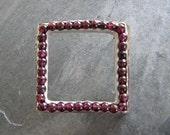 Square Garnet Brooch in Sterling Silver
