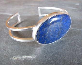 Vibrant Blue Lapis Cuff Bracelet of Sterling Silver