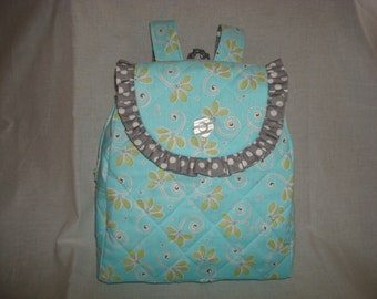 Child's Backpack in Light teal with gray accents