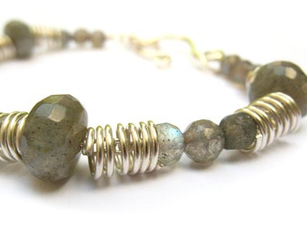 Bracelet Sterling Silver Dragonfly and Labradorite - Sparkly Iridescent Wire Wrapped