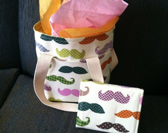 Mustache Tote and Wallet
