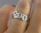 Custom Stack Ring, Personalized Number Ring, Sterling Silver Custom Ring, Choice Of 1 Personalized Ring