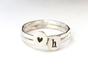 Stack Rings, Heart Stack Ring, Sterling Silver Custom Initial Stack Ring And Sterling Silver Heart Band Ring, Set Of Two Personalized Rings