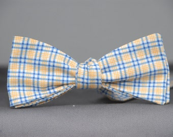 Blue and Yellow Plaid  Bow Tie