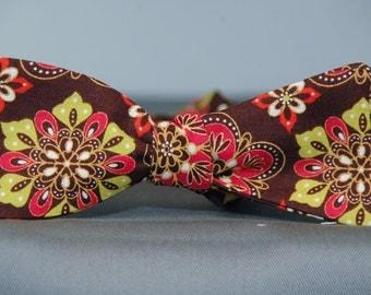 Fun Tiles on Brown  Bow Tie