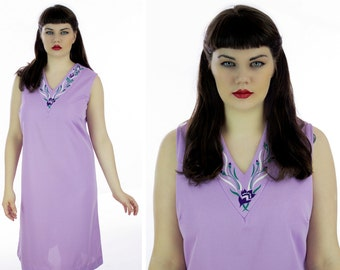 60s Shift Dress Mod Purple Painted Flowers 1960s Mini A-Line  Retro 1970s Indie Day Dress XLarge 2X Plus Size