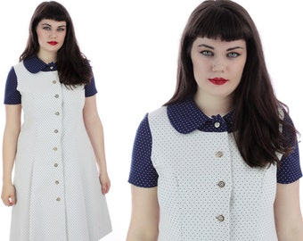 60s Mod Dress White Navy Polka Dots Vintage Peter Pan Collar Pleated Skirt Buttons 1970s 70s A-line Mad Men Large L XL Plus Size