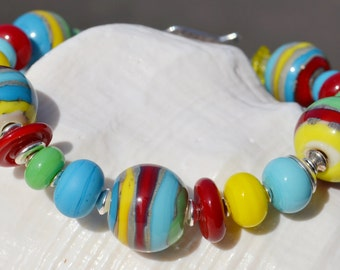 DAY at the BEACH-Handmade Lampwork and Sterling Silver Bracelet