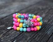 Pastel Candy Acai Beads Bracelet:  Colorful Acai Beads Memory Wire Bracelet / Eco friendly Jewelry, Organic Beads, Acai Seeds / Handmade