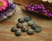 Dark Olive Green: Baby Top Tagua Slices, made from Tagua Nuts / Pack of 10 slices (top drilled) / South American Beads, Eco-Friendly Beads