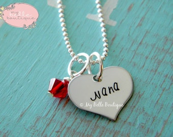 Personalized Hand Stamped Heart Shaped Necklace Tag Pendant with Swarovski Birthstone